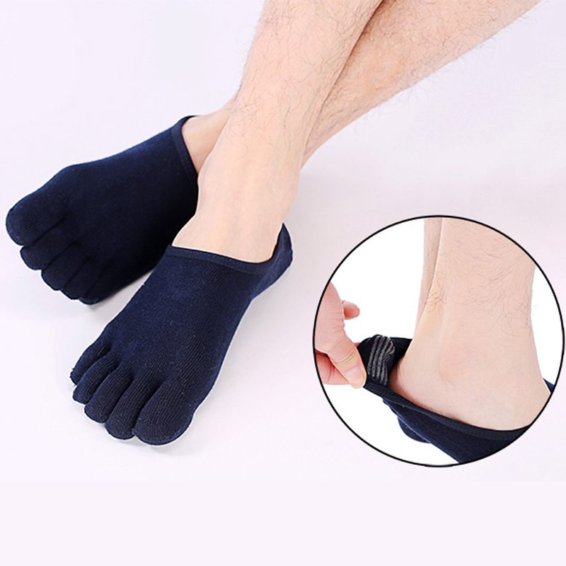Summer Cotton Men's Invisible Boat Socks Thin Five Toe Shallow Mouth Non-slip Silicone Anti-off With Breathable Five-finger Sock