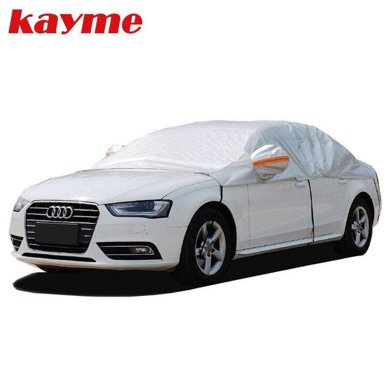 Kayme en aluminium demi-couverture de voiture étanche voiture parasol soleil protection housses universelles pare-soleil pare-brise protecteurs S M L XL