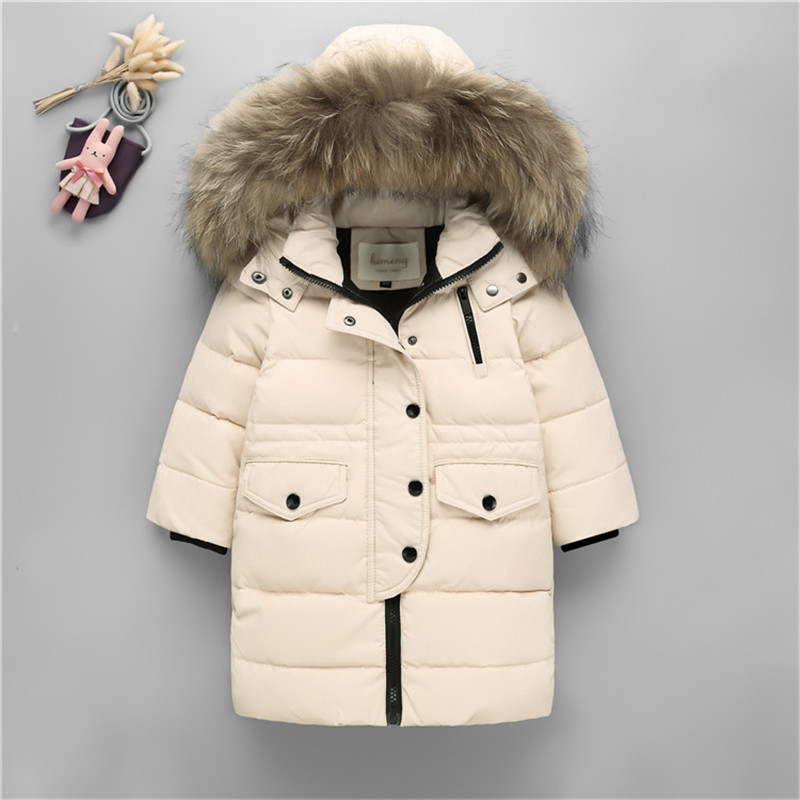 Winter Children Girls Boys Thick Warm White Duck Down Jacket Kids Girls Real Raccoon Fur Collar Hooded Down Coat Outerwear P53 2017 winter thick warm children long sections duck down jacket kids girls down jacket for boys hooded collar outerwear coat