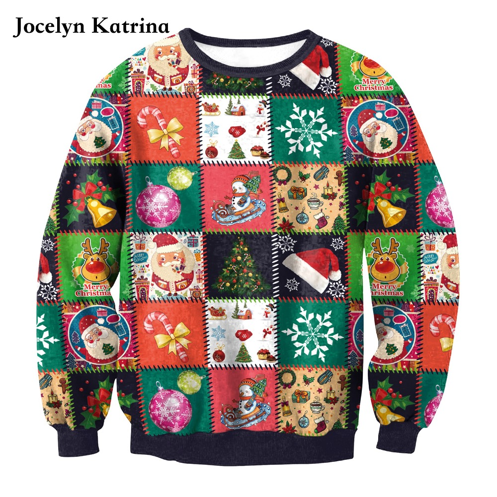 Jocelyn Katrina 2017 new autumn and winter Christmas gift section digital printing sports sweater women long-sleeved sweatshirt