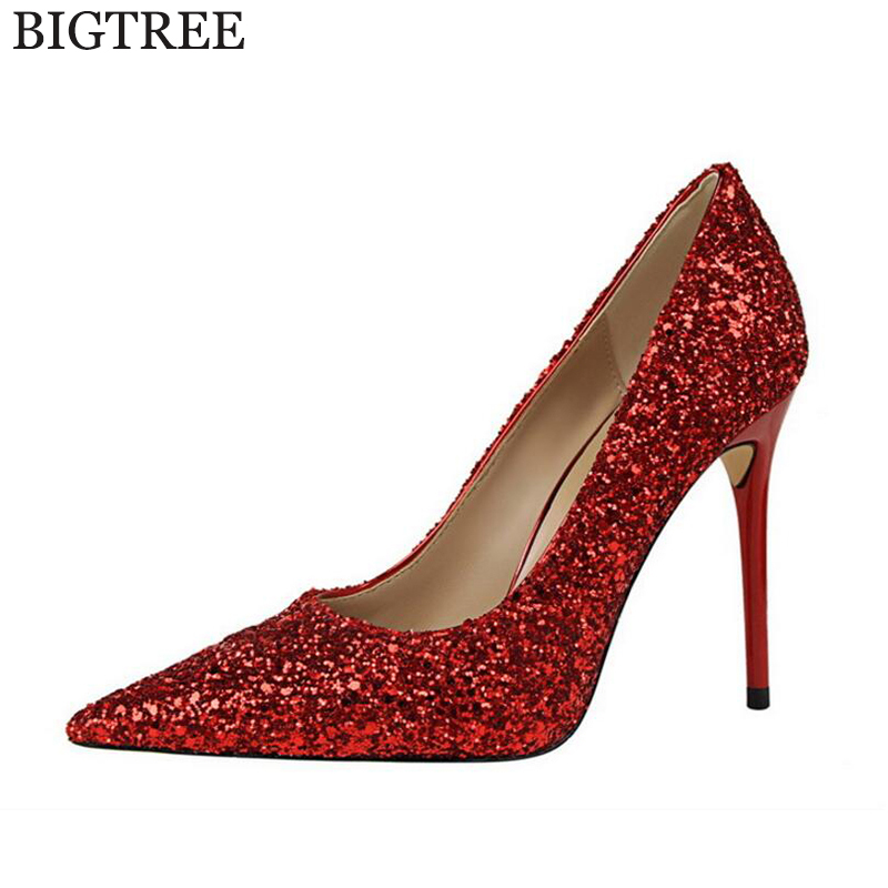 BIGTREE Women Pumps 2017 Sexy High Heels Pointed Toe Party Shoes Woman Wedding Office Pumps Red Sequins Zapato Mujer k139