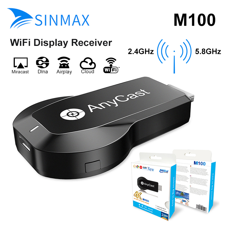 2018 Nouvelle TV Bâton Anycast M100 5G/2.4G 4 K HDMI Miracast DLNA Airplay WiFi Afficher Récepteur dongle Soutien Windows Andriod IOS