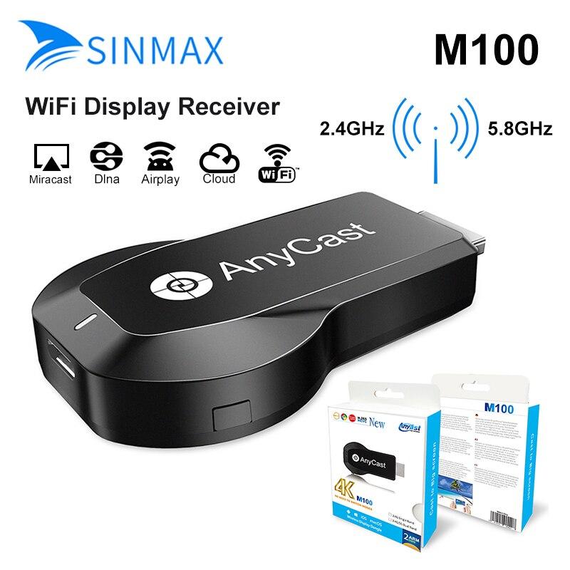 2019 nova vara de tv anycast m100 5g/2.4g 4 k hdmi miracast dlna airplay wi-fi display receptor dongle suporte windows andriod ios