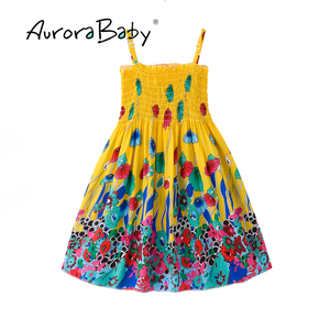 Image 3 - AuroraBaby Toddler Girls Maxi Dress For Summer Beach Casual Floral Printed Little Girl Dress Bohemian Style  Free Necklace