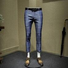 mens dress pants letters words printed grey plaid slim fit suit pants cropped pants fashion office wedding groom wear plus size