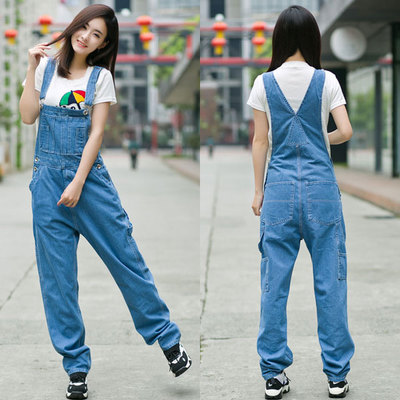Free Shipping 2017 New Fashion Denim Bib Pants Loose Denim Spaghetti Strap Pants Plus Size 28-42 Jumpsuits For Tall Women Summer free shipping 2017 new fashion summer denim bib pants loose plus size 3xl jumpsuit and rompers women shorts cotton jeans casual