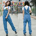 Free Shipping 2017 New Fashion Denim Bib Pants Loose Denim Spaghetti Strap Pants Plus Size 28-42 Jumpsuits For Tall Women Summer