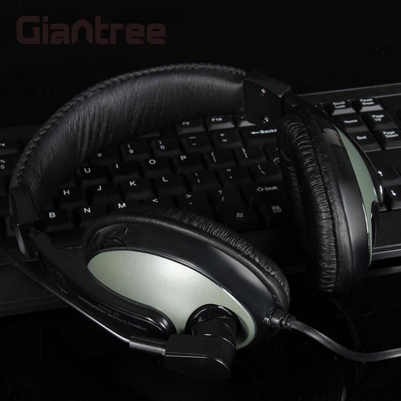 giantree Wire Game Stereo Sound Earphones Headset Earset Headphone Wired Earpiece Bass Noise Reduction With Mic For Computer rock y10 stereo headphone microphone stereo bass wired earphone headset for computer game with mic