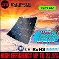 Sunpower flexível painel solar 50 w; monocristalino semi flexível painel solar 50 w; célula solar 22% a eficiência do carregamento