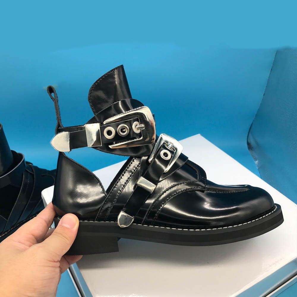 Kathlynวงศ์สีดำผู้หญิงตัดออกจากข้อเท้าบู๊ทส์,โลหะออกแบบหัวเข็มขัดผู้หญิงหนังแท้มาร์ตินบู๊ทส์-ใน รองเท้าบูทหุ้มข้อ จาก รองเท้า บน AliExpress - 11.11_สิบเอ็ด สิบเอ็ดวันคนโสด 1