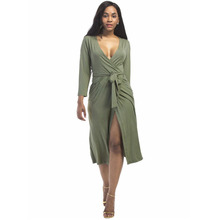 casual Dress Deep V Lead Will Pendulum summer clothes for women dresses vestido 2018 clothing vestidos mujer verano green Dress
