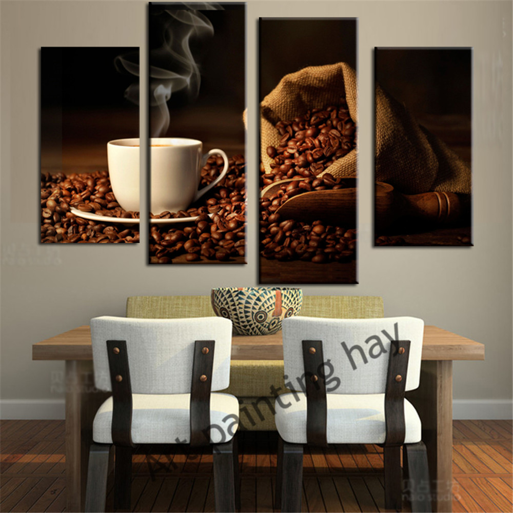 Kitchen Canvas Wall Decor: 4 Piece Canvas Art Coffee Kitchen Modern Abstract Painting