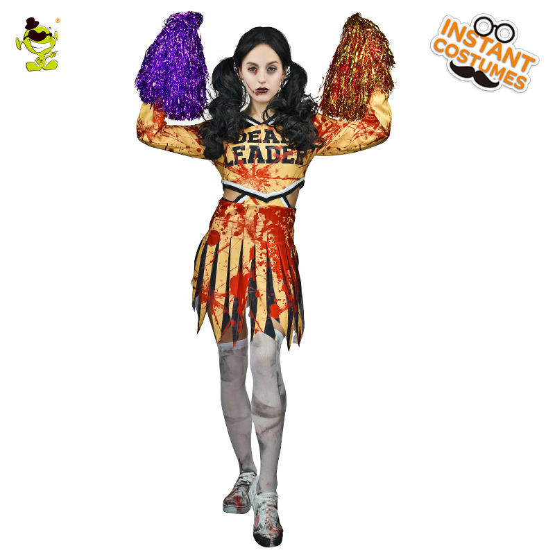Bloody Zombie Cheerleader Costumes Halloween Party Bloodstained Cheerleader Cosplay Dress for Women Horror Sports Party Shows