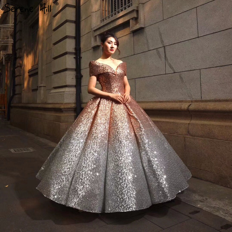 SERENE HILL Luxury Sequined Sparkly Fashion Sexy Wedding
