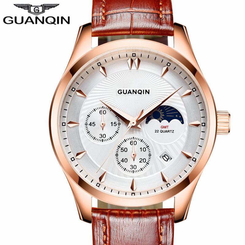 ФОТО Multifunctional Men Watches GUANQIN Brand Luxury sports Watches Male Leather Strap Business watch casual clock hour Montre Homme