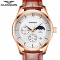 Multifunctional Men Watches GUANQIN Brand Luxury sports Watches Male Leather Strap Business watch casual clock hour Montre Homme