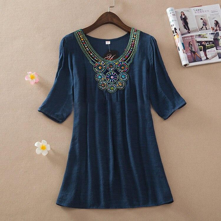 Летнее платье новинка года Цветочный принт белый красный Половина рукавом О-образным вырезом чешские Для женщин Повседневное Dresse плюс Размеры платье L, XL, XXL 3XL s1129 - Цвет: Dark Blue