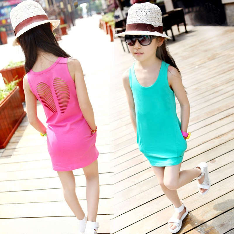 2019 Hot sale summer style baby girls summer dress cotton girl clothing girl dress hollow pocket bag hip baby casual dress