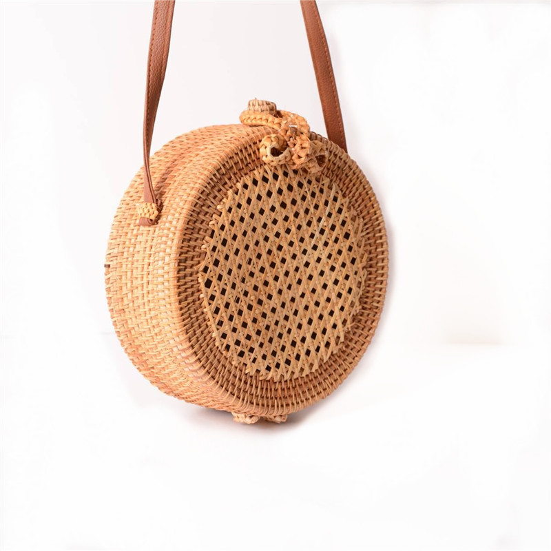 18 Round Straw Bags Women Summer Rattan Bag Handmade Woven Beach Cross Body Bag Circle Bohemia Handbag Bali 7