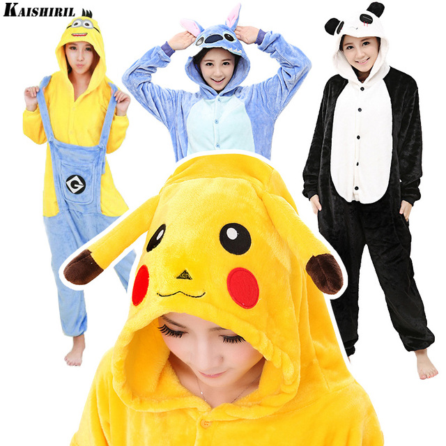 Animal Onesie Cartoon Pajamas Kigurumi Adult Onesies Pyjamas Women Unisex Unicorn Pikachu Stitch Minion Panda Anime Sleepwear