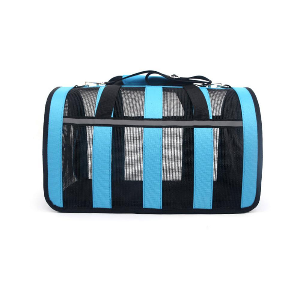 Дышащая Складная сетка сумка клетка для домашних животных для уличных собак кошек - Цвет: blue