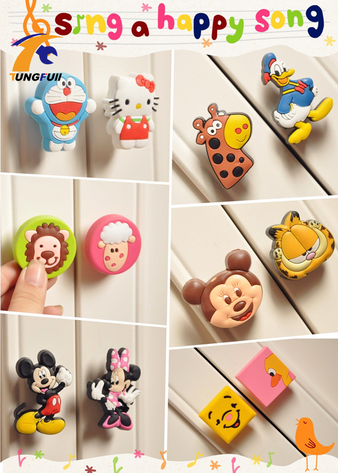 Soft Rubber colorful children cabinet knobs Drawer Door Wardrobe Pull Handle decorative Wardrobe Drawer Door Cupboard Handle cute non toxic eco soft rubber pvc cabinet wardrobe drawer pull handle knob for child room
