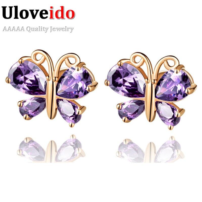 b7037401e 5% de descuento uloveido púrpura mariposa Pendientes de broche joyería de  plata Rosa oro color brincos de festa para las mujeres pendiente cristalino  r434