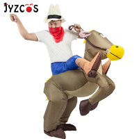 JYZCOS Inflatable Horse Costumes Cowboy Cosplay Costume Halloween Party Costumes For Women Men Kids Purim Carnival Costume