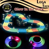 DIY Miraculous Glowing Race Track Bend Flex Flash In The Dark Electronics Racing Railway Track Set