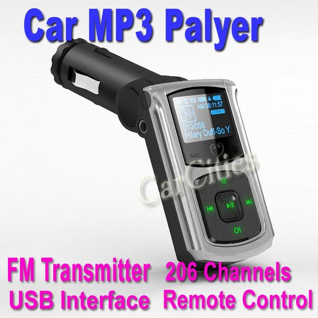 Car MP3 Player,car Wireless FM transmitter,car FM modulator with remote control USB interface,206 Channels,drop shipping