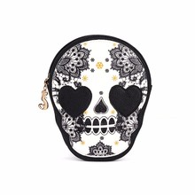2017 Women Black Skull Shoulder Messenger Bag Handbag Purse women famous brands luxury handbags women bags