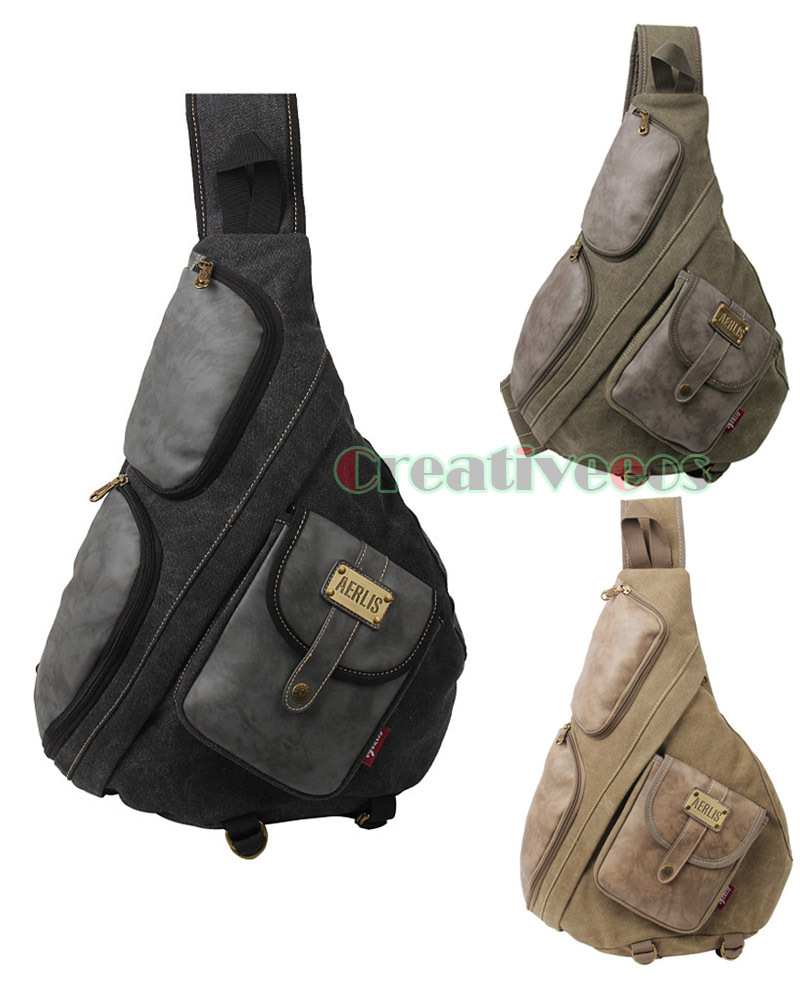 Men Canvas PU Leather High Quality Travel Motorcycle Cross Body Messenger Shoulder Triangle Sling Chest Bag men canvas high capacity travel motorcycle cross body messenger shoulder back pack sling chest casual bag