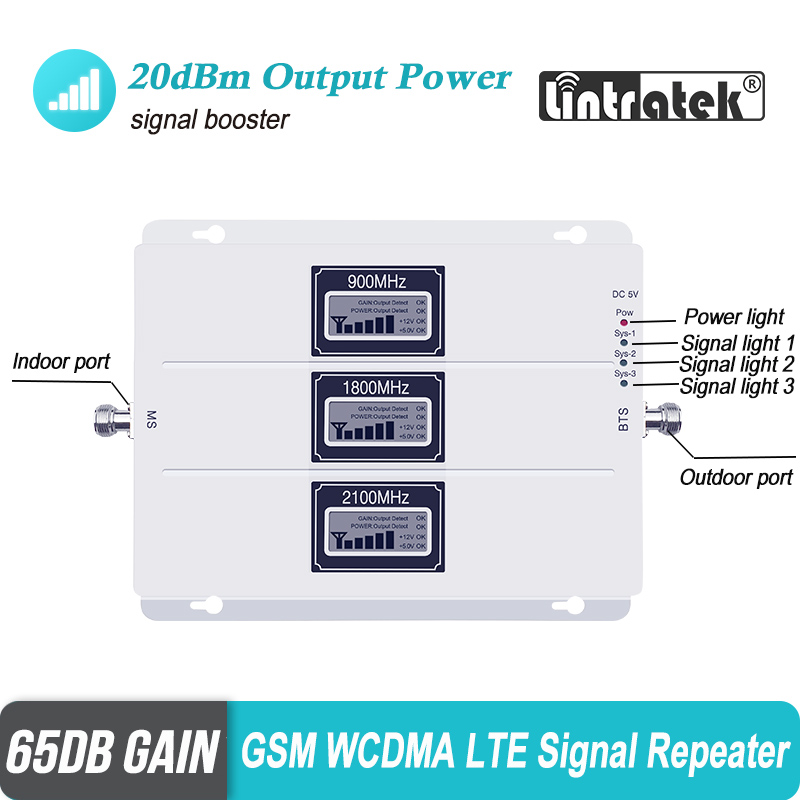 ALC Cellular Signal Booster Tri Band GSM Signal Repeater 65dB Gain 3G LTE 900 1800 2100 Cell Phone 4G Amplifier Repetidor SetS44-in Signal Boosters from Cellphones & Telecommunications    3