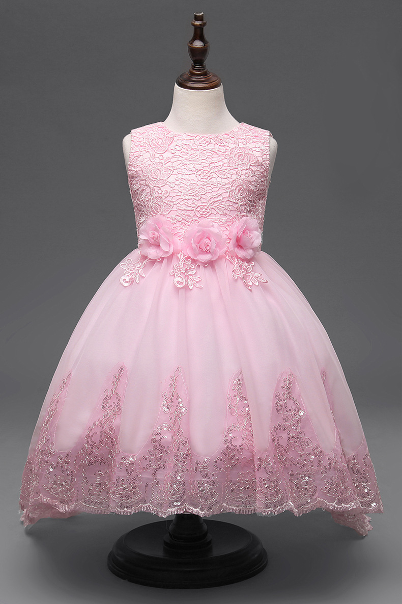 Flower Girl Dresses With Long Train For Weddings White Pink Red Mesh