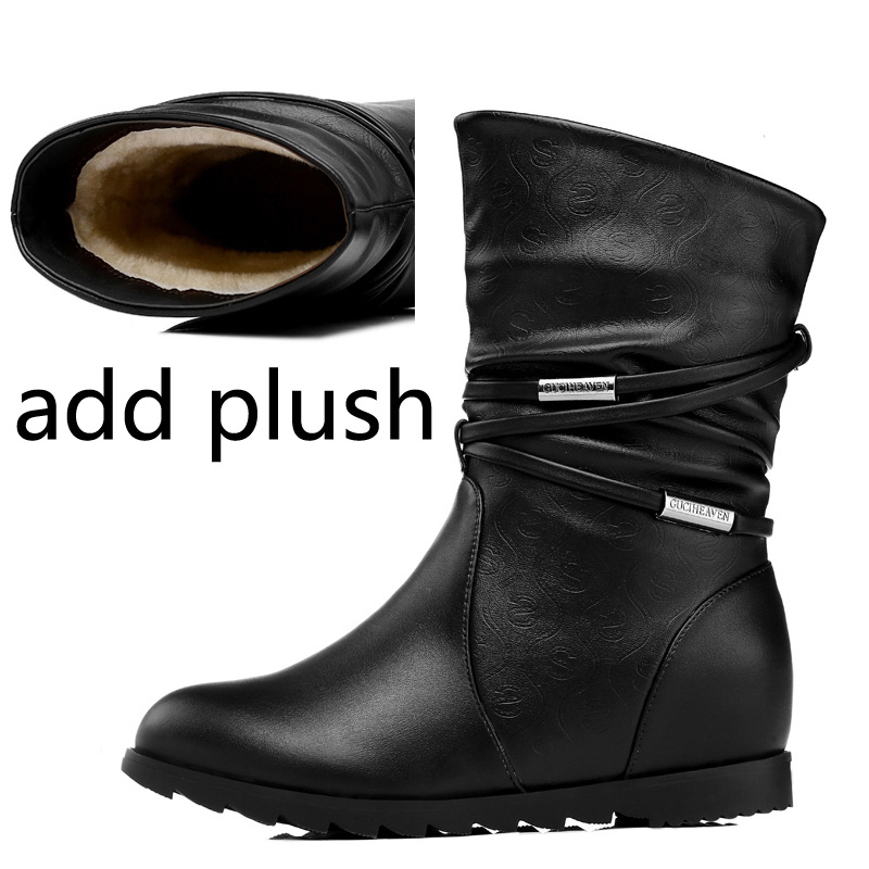 168c51b82c2 Guciheaven Mid-calf Snow Boots Women Winter Keep Warm Short Plush Height  Increasing Inside Heels 3cm Fashion Leather Shoes