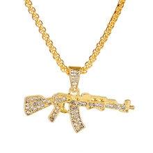 Ouro pistola pingentes colares submáquina arma colar masculino hip hop jóias acessórios corrente collier-30