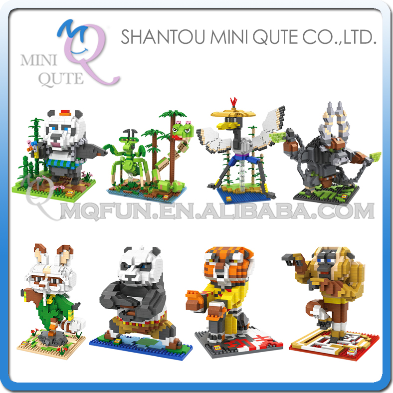 Фото Mini Qute WTOYW LOZ 2016 New Arrive Kung Fu Panda Po Kawaii cartoon Plastic Cube Building Block Brick figures Educational Toy