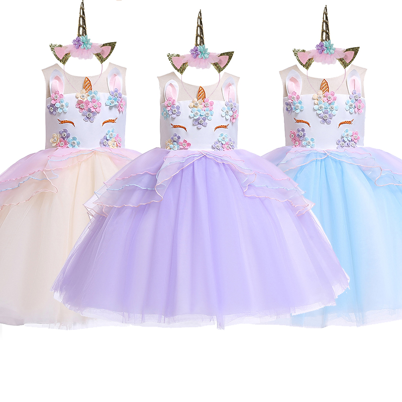 girls unicorn tutu dress pastel rainbow princess girls