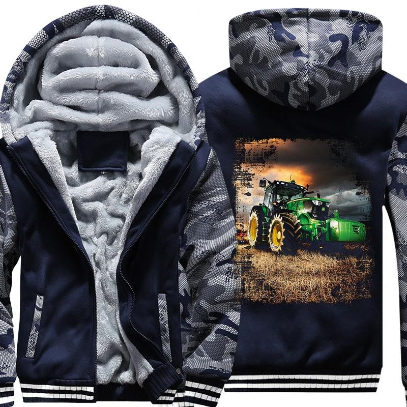 Drop Shipping USA Size 5XL Hoody Men Long Tractor Winter Thicken Fleece Hoodies Zipper Casual Coat Custom Made Clothing Jacket