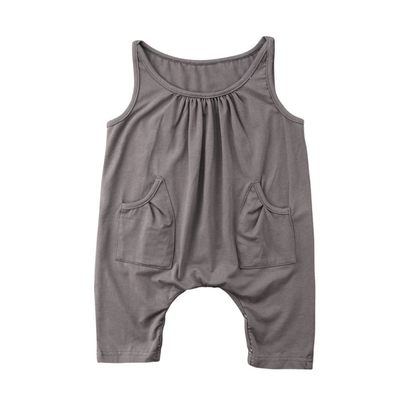 Toddler Kids Girls Pocket Gray Black Romper Summer Sleeveless Jumpsuit Casual Clothes 1- ...