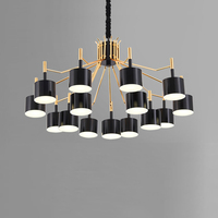 Nordic Post Modern Simple Fashion Designer Iron Chandelier 12 15 Heads Black White 90 260V For