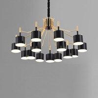 Modern Fashion Designer's Chandelier 12 /15 Heads Black/White Lampshade For Living Room Bedroom chandelier lights