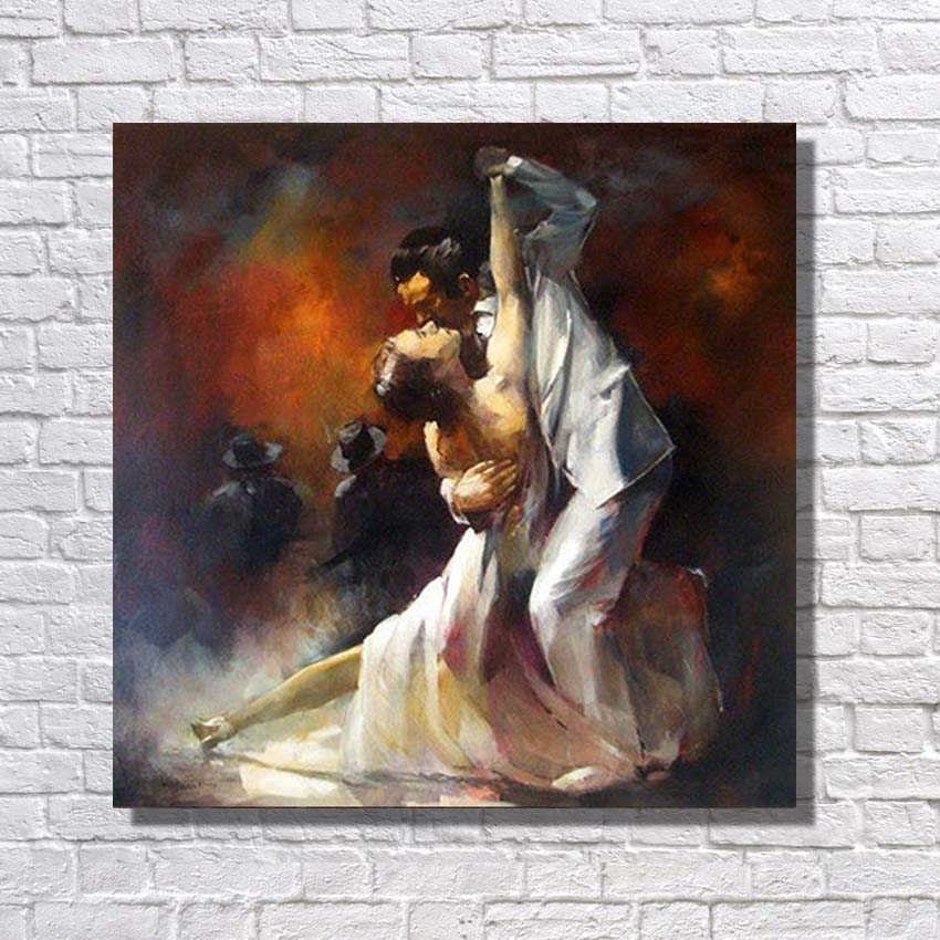 Top quality hand painted 100% canvas figure art paintings couple dancing tango picture wedding room decoration