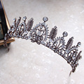 Vintage Black Leaf Wedding Prom Tiara Crown Baroque Bridal Hair Accessories Women Hair Jewelry Tiaras