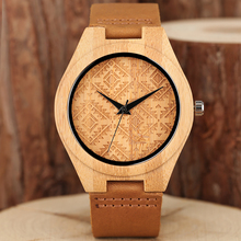 Nature Bamboo Watch Men's Wristwatch Quartz Wood Watches Unique Novel Design Dial Genuine Leather Watchband Hot Sale Clock Gifts