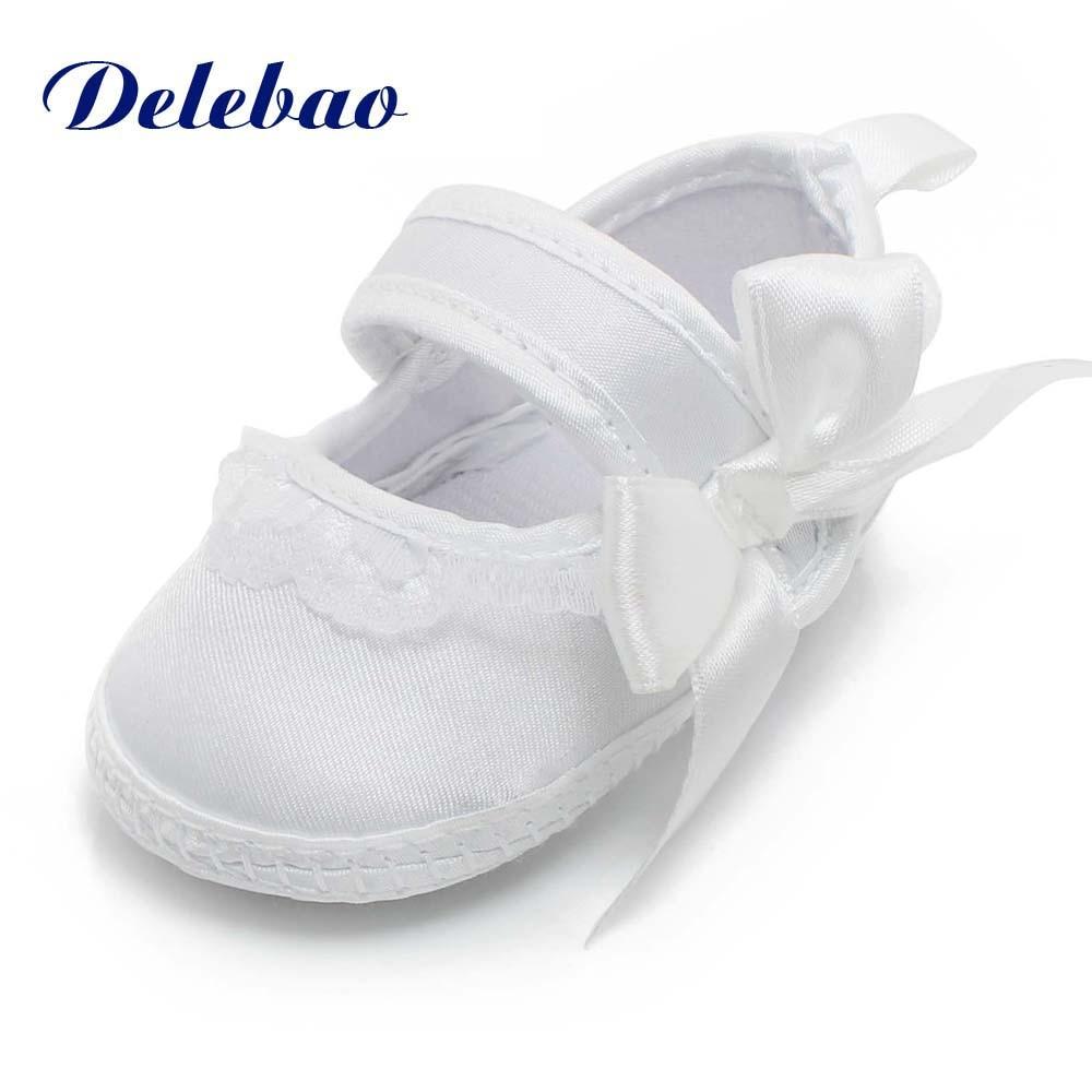Dåb Sko & Sko Sko Nyfødt Lilla Snøre-Up Til 0-12M Baby Boy & Baby Piger Sko Blød Sole Sole White Shoes