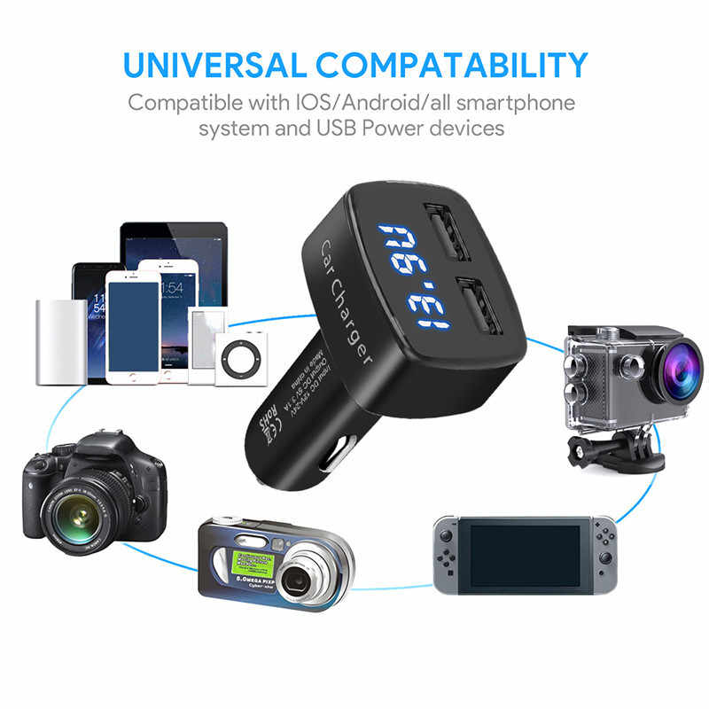 3.1A Charger Mobil Ganda Usb 5V Universal 4 In 1 Tegangan/Suhu/Current Meter Tester Adaptor Digital LED Display untuk Huawei