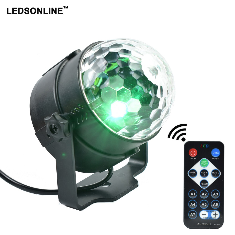 LEDSONLIN Party Disco DJ Light Holiday Projector EU/US LED RGB Crystal Mini Magic Ball Stage Effect Lights with Remote Control mini rgb led party disco club dj light crystal magic ball effect stage lighting
