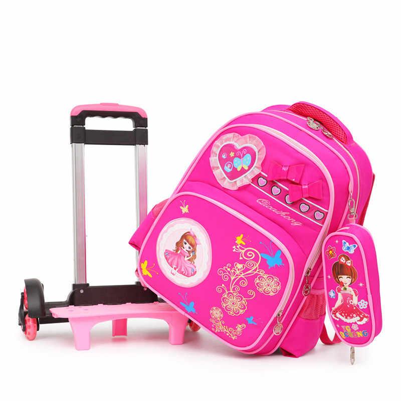 Wymienne torby szkolne dla dzieci z 6 koła mogą wspinać się po schodach wózek dziecięcy tornister torby książki śliczne łuk dziewczyny plecak na kółkach