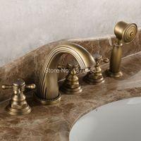 Бортике 5 отверстий ванной смеситель античная латунь Широкое 3 Ручка Ванная кран Набор Handshower atf051